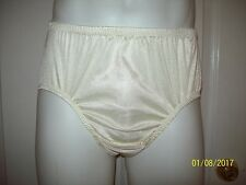 """IVORY NYLON TRICOT 2 Layer Wider Crotch PANTIES * ENCASED BRIEFS * 27"""" - 42""""  L"""