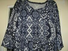 GEORGE LADIES BLUE/WHITE TUNIC TOP SIZE 12