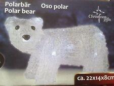 Eisbär Led Beleuchtung 20 Led Acryl Polarbär 22x14 cm Batteriebetrieben
