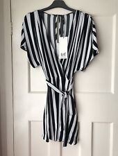 Zara Striped Short V Neck Wrap Style Dress Jumpsuit Playsuit Size S