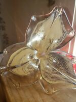 Hand Blown Art Glass Unmarked Purple White Twisted Stem Flower Excellent Cond