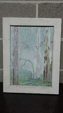 "Vintage Framed Original Acrylic, ""Morning Flight"", R Thompson, Unsigned AD Verso"