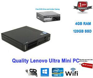 Lenovo ThinkCentre USFF M72e Intel Core i3 2nd Gen 4 GB RAM 120GB SSD WINDOWS 10