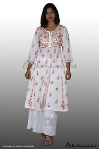 New Diwali Wear Cotton Kurti Lucknawi Chikankari Anarkali kurta Express Shipping
