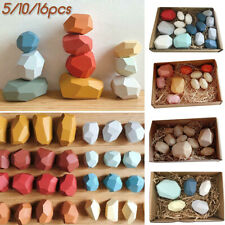 Baby Creative Wooden Toys Coloured Pile Up Stack Balancing Stone Building Blocks