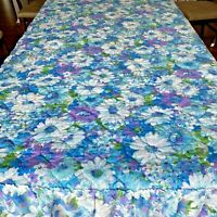 Vintage 1970s Bedspread Purple and Blue Daisy Quilted Ruffle Full Size Bed K7