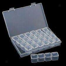 Clear Interval Empty Storage Box Acrylic Nail Jewellery Case Craft Gem Container
