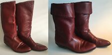 """Connie Leather Mid-Calf Boots Cordovan Red Decorative Stitching 1.25"""" Heel Sz 7B"""