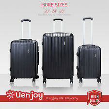 3Pcs Luggage Travel Set Lightweight Carry On Trolley Suitcase Tote Bag Black