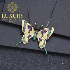 Natural Amethyst Real 925 Silver Handmade Gold Butterfly Brooch Pendant Necklace