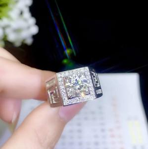 2.10Ct Round Moissanite & Diamond Men's Engagement Ring  14K White Gold Finish