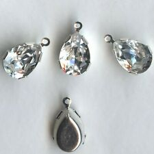 S38a C 1 Pendentif Swarovski Strass serti Goutte 14x10mm Crystal