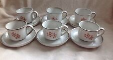 6 X RETRO DENBY GYPSY CUPS & SAUCERS VERY VERY GOOD CONDITION