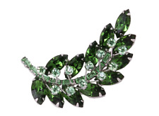 Vibrant Green Marquise, Baguette & Round Shape 4.50CT Emerald Fine Leaf Brooch