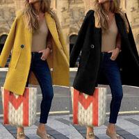 ZANZEA Women Winter Casual Loose Overcoat Woolen Trench Coat Long Jacket Outwear