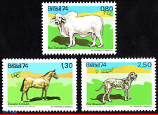 1367-69 BRAZIL 1974 ANIMALS, HORNLESS TABAPUA, HORSE, DOG, MI# 1459-61, SET MNH