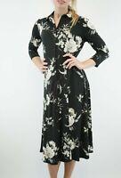 Wallis New Black Floral Button Through Dress Women Long Shirt Dress Size 8 to 20