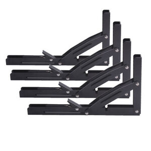 "4X Folding Heavy Duty Metal Shelf Bracket for Bench Table Seat Wall Mounted 14"""