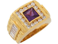 10k or 14k Yellow Gold Simulated Amethyst White CZ Wide Band Classic Mens Ring