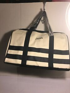 Jean Paul Gaultier Navy Canvas Duffel Bag Travel Tote Bag Blue Cream Unisex NEW
