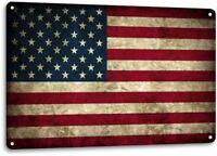 American Flag Rustic USA Patriotic Kitchen Man Cave Wall Decor Metal Tin Sign