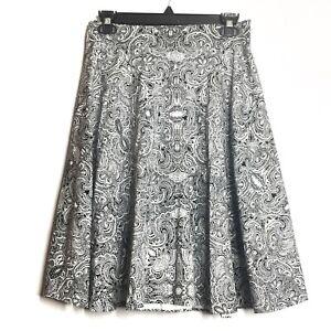 Amanda Chelsea Paisley Black White Print Exposed Zipper A-Line Skirt Size 4