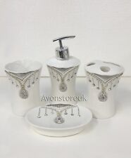 BEAUTIFUL DIAMANTE 4 PIECE TOILET SET BATHROOM TIDY ROMANY SETS PINEAPPLE JAR