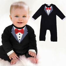 Baby Boy Wedding Christening Formal Suit Tuxedo Romper Outfit NEWBORN