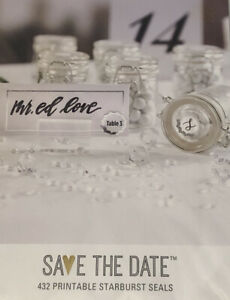 Save The Date 432 Printable Sticker Seals Wedding Shower Bridal Silver And White