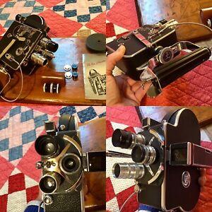 1953 Bolex- Palliard (H-8) 8mm Movie Camera w/ 4- Lenses, Release- Grip, NICE!