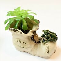 Vintage Old Boot & FROG Stoneware Patio Planter Pot, 14cm Long, Glazed Finish