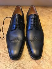 Magnanni Navy Leather Shoes, 11.5