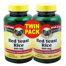 Spring Valley Red Yeast Rice Dietary Supplement Caps 600 mg 120 Ct EXP 1-2019