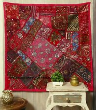 """40"""" PINK HANDCRAFTED SARI BEADS SEQUIN VINTAGE DECOR WALL HANGING TAPESTRY THROW"""