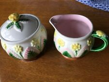 Takahashi San Fransisco Floral Sugar Bowl Creamer Majolica Style Cottage Cute