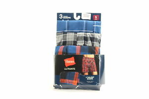 Hanes Mens Underwear Redd Blue USA Small S 3 Pack Woven Plaid Boxers $22 509