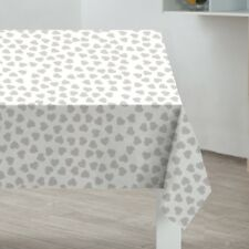 Grey Hearts PVC Tablecloth Wipe Clean Table Cloth 178cm x 132cm (almost 6ft)