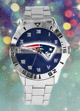 NFL New England Patriots Watch Stainless Steel Band Blue Face