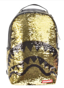 SPRAYGROUND GOLD SEQUIN SHARK BACKPACK - Limited Edition - Authentic - New