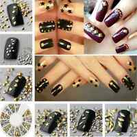 Lots 120PCS Punk DIY 3D Metal Nail Art Tips Fashion Metallic Studs Stickers FT89