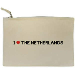 'I Love The Netherlands' Canvas Clutch Bag / Accessory Case (CL00000283)