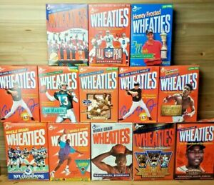 Vintage Lot of 12 1990s Unopened Kellogg's Wheaties Cereal Boxes