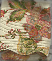 C&F DEANNA JACOBEAN FLORAL BRICK RED, GREEN, GOLD, CREAM, ROSE QUILTED SHAM