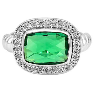 Emerald Simulated 925 Sterling Silver Ring s.6 Jewelry SDR79833 E167