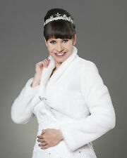 Wedding Faux Fur White Ivory Bridal Bolero Shrug Jacket Coat Long Sleeve A-135M