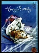 Birthday Cat Kitten Newspaper Coffee Cup Flowers - 3-D - Birthday Greeting Card
