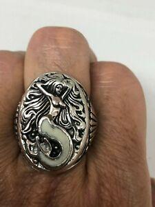 Vintage Mermaid Ring Southwestern white Inlay Size 12