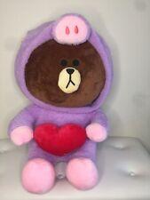 Line Friends Teddy Emoji Bear Purple Pig Jumpsuit Hoodie 60cm Love Heart
