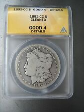 1892-CC MORGAN SILVER DOLLAR ANACS 124 YEARS OLD / PART OF UNITED STATES HISTORY