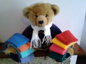 "HAND KNITTED 18""  SCARF FOR YOUR  TEDDY BEAR."